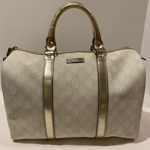 Gucci Joy Boston Bag in ivory pewter coated canvas